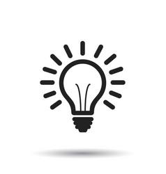 Light bulb line icon on white background idea vector