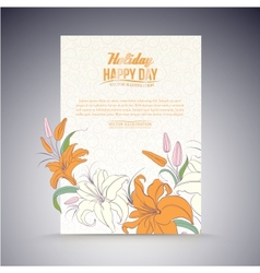 Lily on a sheet of paper vector