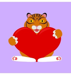 little tiger with red heart vector image vector image