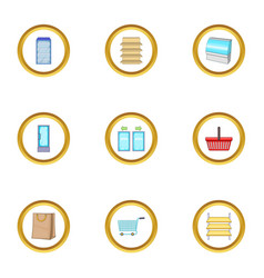 market basket icons set cartoon style vector image vector image