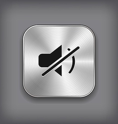 Mute icon - metal app button vector image