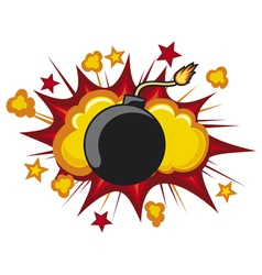 old bomb starting to explode vector image