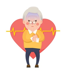 Old Man Heart Attack Chest Pain Cartoon Character vector image vector image
