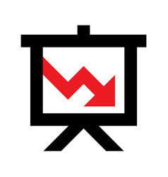 Projector screen with red arrow icon vector