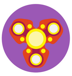 red spinner with yellow circles a flat style vector image