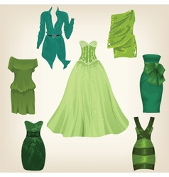 Set of beautiful green dresses vector
