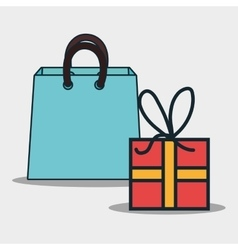 shopping bag and gift box vector image