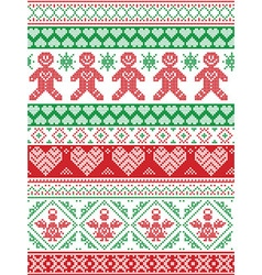 Tall xmas pattern with gingerbread man red green vector