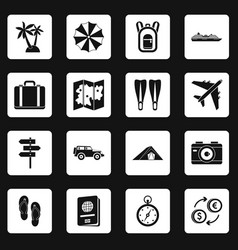 Travel icons set squares vector