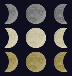 Yellow gray white moon vector
