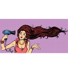 Young female drying hair hairdryer vector
