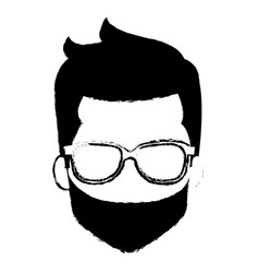Young man head with beard avatar character vector