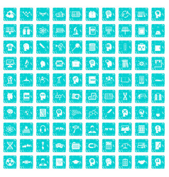 100 knowledge icons set grunge blue vector