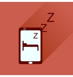 Flat icon with long shadow mobile phone sleeps vector image