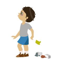 Boy littering part of bad kids behavior and vector