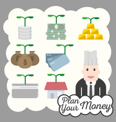 Financial icon plan money investment vector