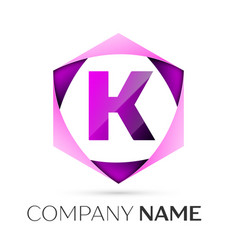 letter k symbol in the colorful hexagonal vector image