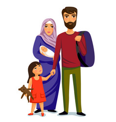 Happy muslim family- parents their daughter and vector