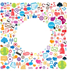 Template design with social network icons backgrou vector