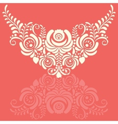 Ornate elegant floral frame in gzhel style vector
