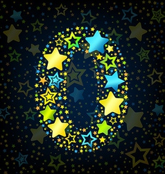 Number 0 cartoon star colored vector