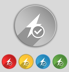 Photo flash icon sign symbol on five flat buttons vector
