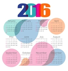 Abstract colorful calendar 2016 vector image