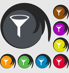 Funnel icon sign symbols on eight colored buttons vector