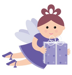 Pretty fairy with a gift vector