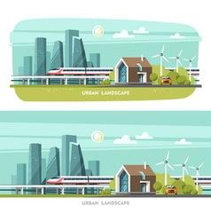 Modern house cityscape urban landscape vector