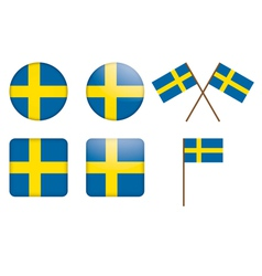 Badges with sweden flag vector