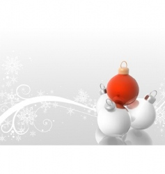 Christmas balls with winter floral vector image