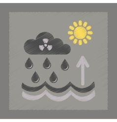 Flat shading style icon radioactive cloud and rain vector