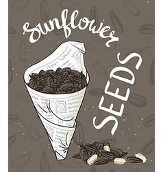 Bundle of newsprint with roasted sunflower seeds vector