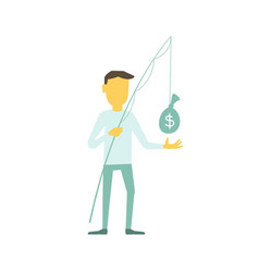 Businessman with a fishing rod caught bag of money vector