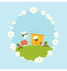 Cartoon beehive honey bees flowers fruits vintage vector