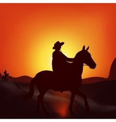 Cowboy on sunset background vector