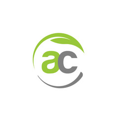 Creative letter ac with circle green leaf logo vector