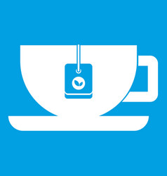 cup of tea with tea bag icon white vector image