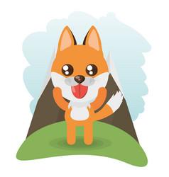 Cute fox animal wildlife vector