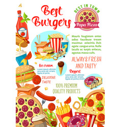Fast food restaurant burger cafe pizzeria poster vector