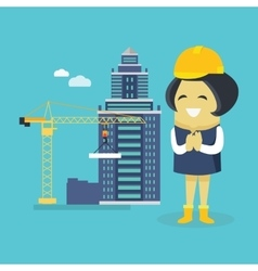 Female engineer and building construction vector
