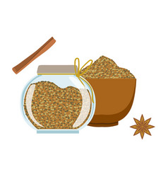 Fennel seeds in a wooden bowl and glass jar vector