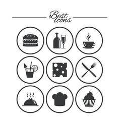 food drink icons coffee and hamburger signs vector image