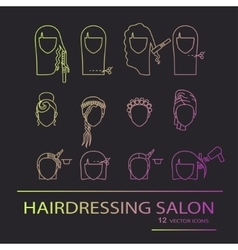 Hairdressing salon line art icons vector