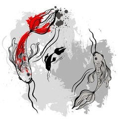 Koi fishes Japanese style vector image vector image