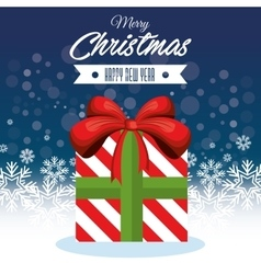 merry christmas big gift and happy new year vector image vector image