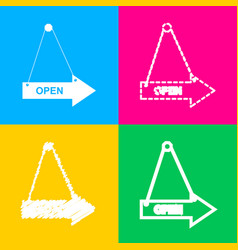 Open sign four styles of icon on vector