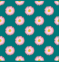 Pink aster flower seamless on green teal vector