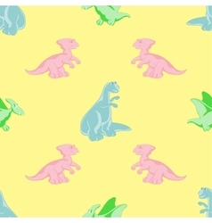 Seamless background colored dinosaurs vector